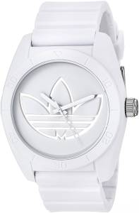 [アディダス]adidas  'Santiago' Quartz Rubber and Silicone Casual Watch, Color:White ADH3198