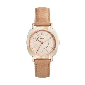 [フォッシル]Fossil  'Idealist Slim' Quartz Resin and Leather Casual Watch, Color:Beige ES4282