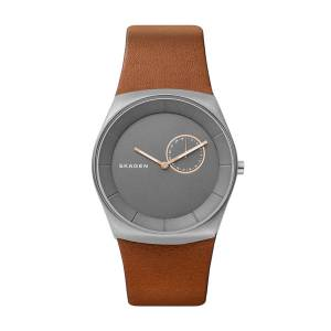 [スカーゲン]Skagen  'Havene' Quartz Titanium and Leather Casual Watch, Color:Brown SKW6415