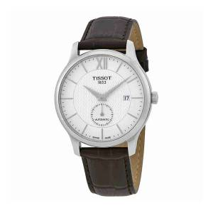 [ティソ]Tissot  TClassic Tradition Automatic Brown Leather Watch T063.428.16.038.00 メンズ