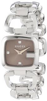 グッチ 時計 Gucci Womens YA125503 G-Gucci Small Diamond Brown Dial Steel Watch