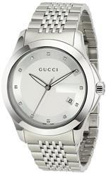 グッチ 時計 Gucci Mens YA126404 G-Timeless Medium Diamond Marker Silver Dial Watch