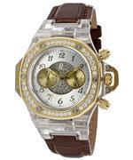 トイウォッチ 時計 Womens Chronograph Silver Dial Brown Genuine Leather