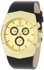 スカーゲン 時計 Skagen Mens 581XLGLB Chronograph Black Leather Watch