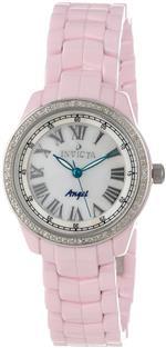 インヴィクタ 時計 Invicta Womens 10322 Ceramics White Mother-Of-Pearl Dial Diamond Accented Pink