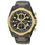 セイコー 時計 Seiko Lord SNDD52 Mens Black IP Two Tone Gold Black Dial Chronograph Sports Watch