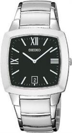 セイコー 時計 Stainless Steel Case and Bracelet Black Dial Date Display