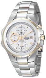 セイコー 時計 Seiko Mens SNAD54 Coutura Alarm Chronograph Two-Tone White Dial Watch