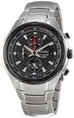セイコー 時計 Seiko Mens SNAE43 Chronograph Multifunction Stainless Steel Black Dial Watch