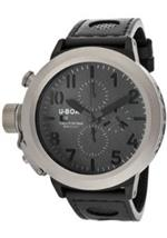 ユーボート 時計 Mens Flightdeck Auto/Mech Chrono Charcoal Textured Dial Black Genuine Leather