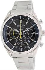 セイコー 時計 Seiko Chronograph Black Dial Stainless Steel Mens Watch SSB087