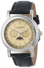 ������ܥ� ���� Akribos XXIV Mens AK632SSW Retro Multifunction Silver-tone Stainless Steel Black