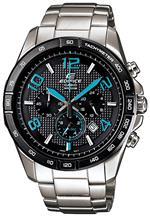 カシオ 時計 Casio Mens Edifice EFR516D-1A2V Silver Stainless-Steel Quartz Watch with Black Dial