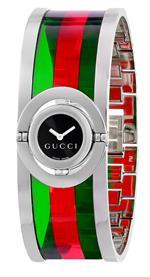 グッチ 時計 Gucci Womens YA112517 Twirl Small Green Red Acetate Bangle Watch