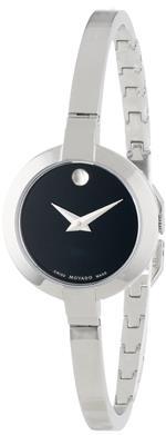 モバード 時計 Movado Womens 0606595 Bela Stainless Steel Case and Bangle Bracelet Black Dial Watch