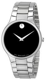 モバード 時計 Movado Mens 0606382 Serio Stainless-Steel Black Round Dial Watch