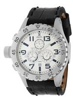 モメンタス 時計 Momentus Black Leather Band White Dial Chronograph Mens Watch TM246S-02BS