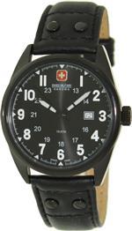 スイスミリタリー 時計 Swiss Military Hanowa Mens Sergeant 06-4181-13-007 Black Leather Quartz Watch