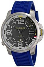 トミー ヒルフィガー 時計 Tommy Hilfiger 1791010 Black Analog Date Dial Blue Silicone Band Men Watch