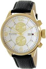 トミー ヒルフィガー 時計 Tommy Hilfiger Mens 1790893 Black Leather Analog Quartz Watch with White