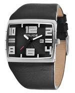 ポリス 時計 Police 13936JS-02 Mens Vision Black Leather Strap Watch