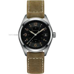 [ハミルトン]Hamilton 腕時計 Khaki Black Dial Suede Strap Watch H68551833 メンズ