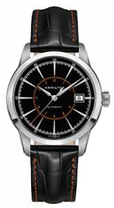 [ハミルトン]Hamilton  Railroad Automatic Black Dial Black Leather Watch H40555731 メンズ