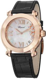 [ショパール]Chopard Happy Sport Round Analog Display Swiss Quartz Black Watch 277471-5002 LBK