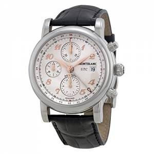 [モンブラン]MONTBLANC  Star Chronograph UTC Silver Dial Black Leather Watch 110590 メンズ