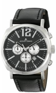 [ジャックルマン]Jacques Lemans  Lugano Analog Display Quartz Black Watch 1-1645E メンズ