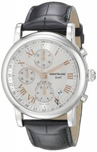 [モンブラン]MONTBLANC  Star Chronograph GMT Black Leather Strap Swiss Automatic Watch 36967
