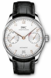 [アイダブルシー]IWC  Portugieser Automatic Silver Dial Black Strap Watch IW500704 メンズ