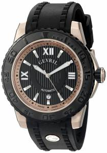 [ジェビル]Gevril  Seacloud Analog Display Automatic Self Wind Black Watch 3115 メンズ