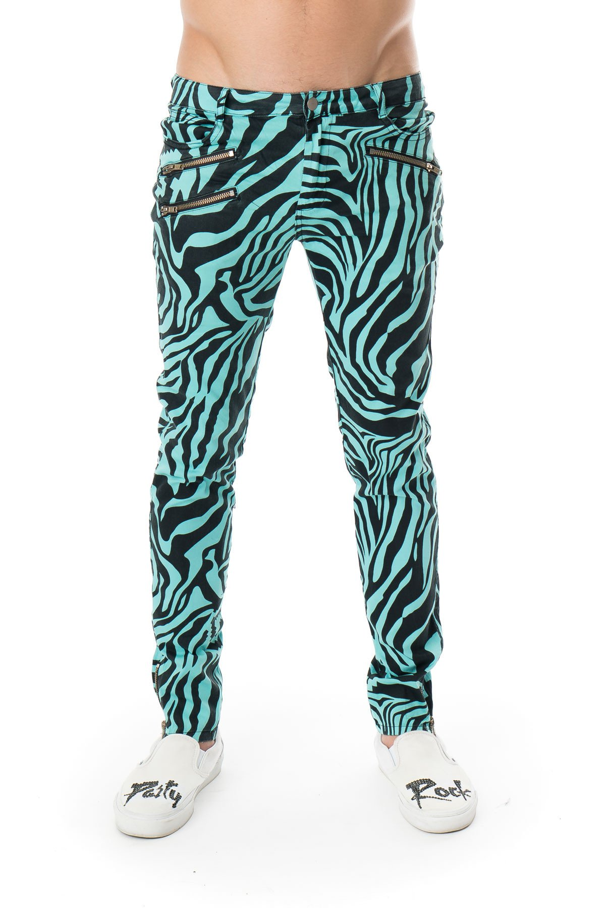 Party Rock Clothing★パーティーロッククロッシング ★La Freak Zebra Pants (アクア)