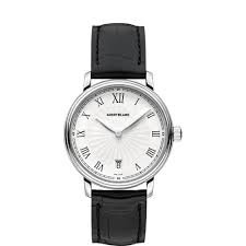 [モンブラン]MONTBLANC  Tradition Date White Guilloche Dial Black Leather Watch 112635