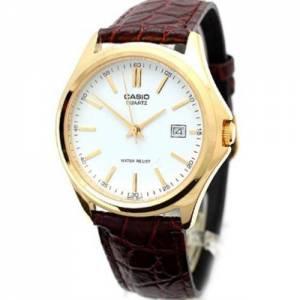 [カシオ]Casio  MTP1183Q7A Gold Analog Dress Watch w/ CrocLeather Band & Date EAW-MTP-1183Q-7A