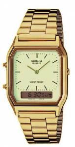 [カシオ]Casio New AQ230GA9D Digital Analog Dual Time Metal Watch Multi Alarm Auto EAW-AQ-230GA-9D