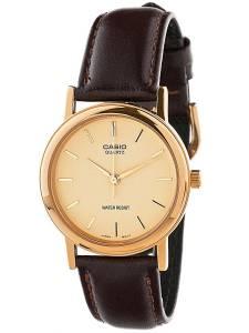 [カシオ]Casio American Apparel Analog Leather Strap Watch Brown / Gold Lines / Gold MTP-1095Q-9A
