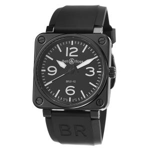 [ベルアンドロス]Bell & Ross Avation Black Dial and Rubber Strap Watch BR01-92-BLACK CERAMIC