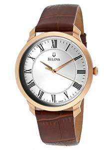 [ブローバ]Bulova 腕時計 97A107 Brown/Silver Genuine Leather Watch BUL-97A107 メンズ