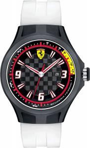 [フェラーリ]Ferrari  Pit Crew Black Checkered Dial White Silicone Watch 830004 メンズ