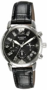 [カシオ]Casio  Sheen SHN5010L1A Black Leather Quartz Watch with Black Dial SHN-5010L-1ADR