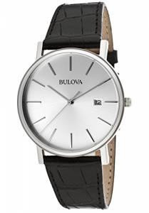 [ブローバ]Bulova 腕時計 Silver Dial Black Genuine Leather BUL-96B104 メンズ
