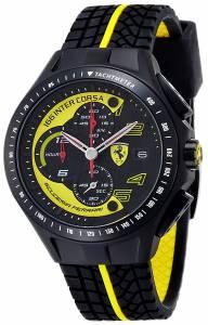 [フェラーリ]Ferrari  0 Race Day Black and Yellow Watch with Textured Rubber Strap 830078