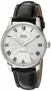 MIDO Baroncelli White Dial Black Leather Men's Watch