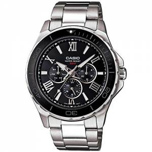 [カシオ]Casio MTD1075D1A1V Silver StainlessSteel Quartz Watch with Black MTD-1075D-1A1VDF (A788)