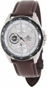 [カシオ]Casio  Edifice Brown Genuine Leather Strap SilverTone Dial CASIO-EF-336L-7AVUDF