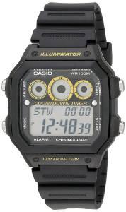 [カシオ]Casio  Illuminator Digital Sport Watch with Black Resin Band AE-1300WH-1AVCF メンズ
