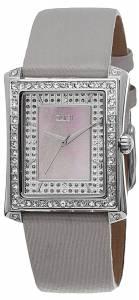 [バージ]Burgi  Swiss Quartz Crystal MotherofPearl Grey Leather Strap Watch BUR088GY