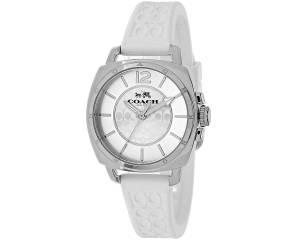 [コーチ]Coach  Mini Boyfriend Signature White Strap Silver Tone Watch 14502093 レディース